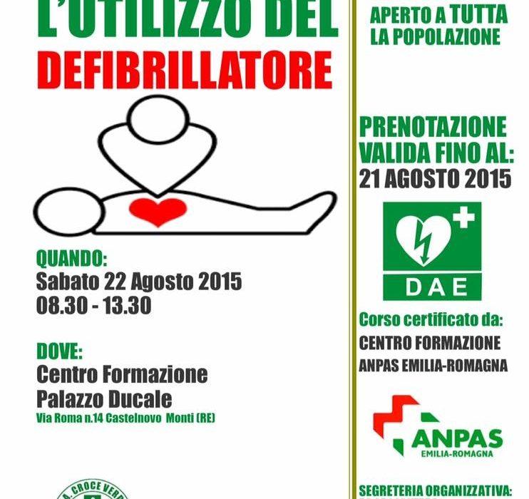 Aperte le iscrizioni al Corso Rianimazione con uso del Defibrillatore per la Cittadinanza