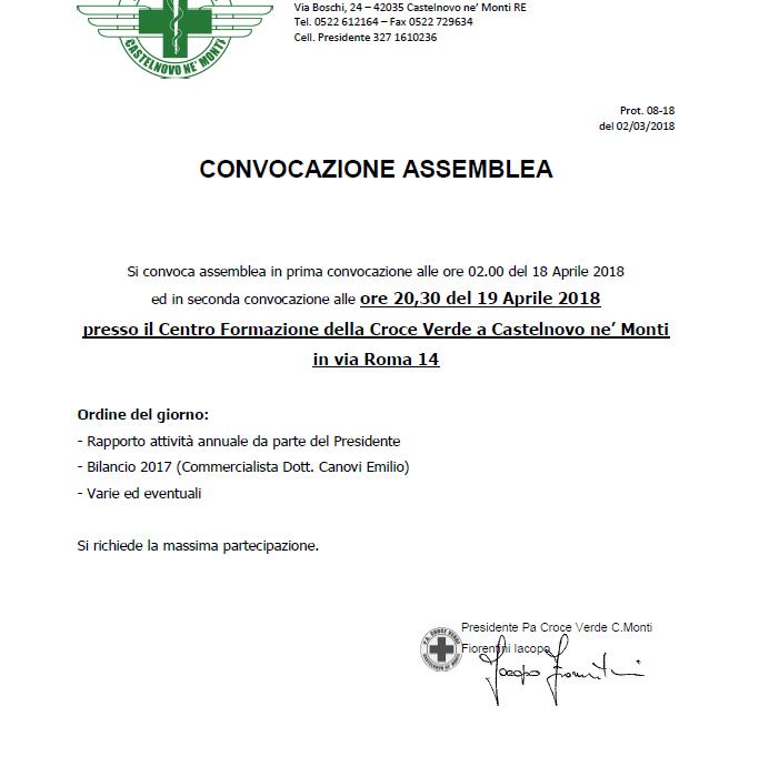 Convocazione Assemblea Soci del 19 Aprile ore 20.30